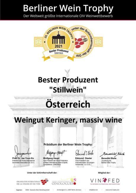 Weingut Keringer holte erneut internationalen Siegertitel